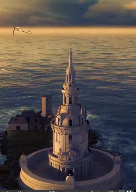 Restitution de l'île et du phare de Cordouan en 1611. Dassault Systèmes/Emissive. © Ministère de la Culture et de la Communication/Ministère de l'Ecologie.