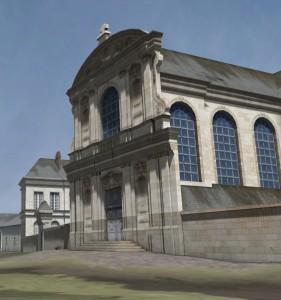 Capture écran de la visite virtuelle de Nantes en 1757, l'Oratoire. © Axyz-AmaK, Château des Ducs de Bretagne, 2007.