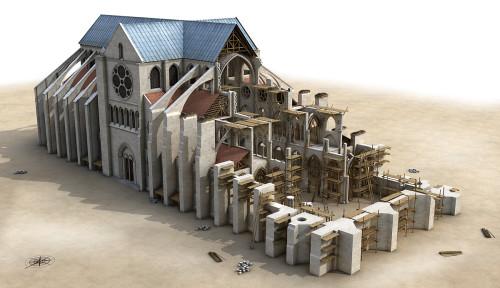 Construction de Notre-Dame de Paris, représentation hypothètique du chantier en 1208. Crédits modélisation Laurence Stefanon, 2013.