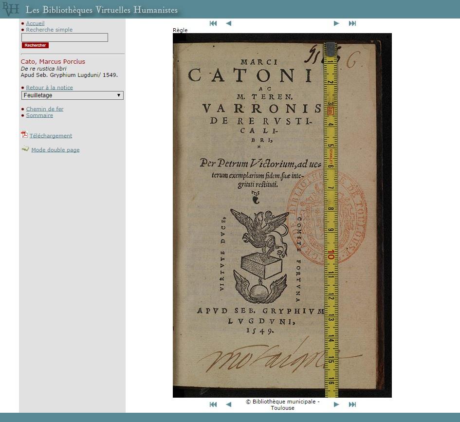 """Capture écran de la consultation proposée actuellement pour le fac-similé du <a href=""""http://www.bvh.univ-tours.fr/Consult/consult.asp?numtable=B315556101_RD16_0006&amp;numfiche=1137&amp;mode=1&amp;ecran=0&amp;index=5"""" target=""""_blank"""">De re rustica libri</a>, crédit Bibliothèque municipale de Toulouse, 2014."""