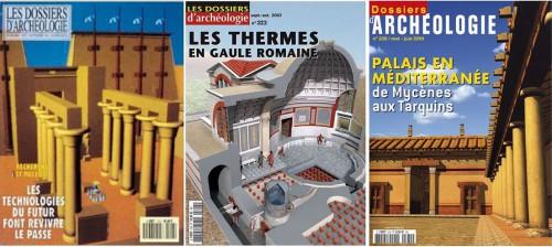 Quelques couvertures des Dossiers de l'archéologie avec images de synthèse, entre 1990 et 2010, éd. Faton.